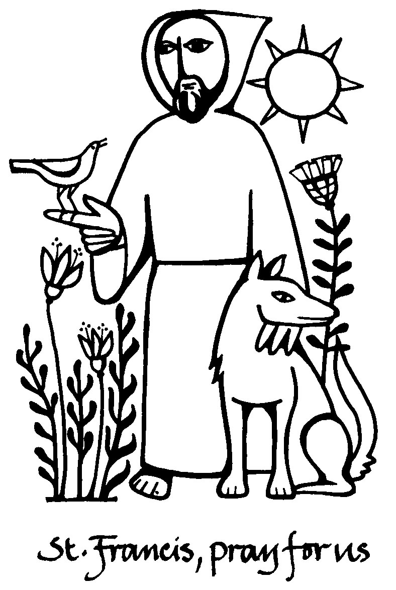 Saints Symbol Drawing Saint Francis Pray For us