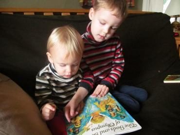 Boys reading Greek Myths